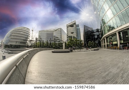 Modern architecture and parks of London on the southern side of Thames.