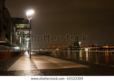 Modern architecture at night in Rheinauhafen area in Cologne, Germany - stock photo