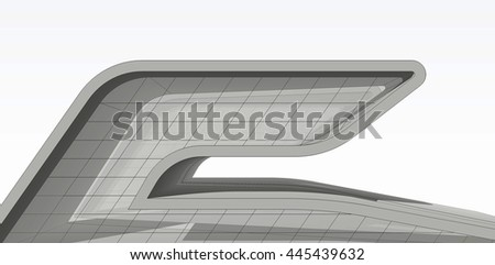 modern architecture building, 3d illustration