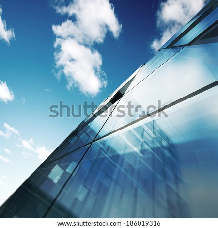 Modern architecture. Building design and 3d model my own - stock photo