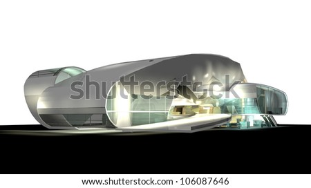 modern architecture 3d render isolated on white - stock photo