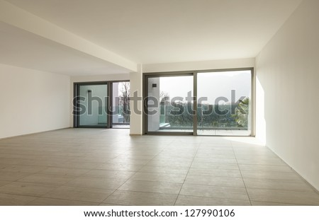 modern architecture, empty apartment ,view from wide room
