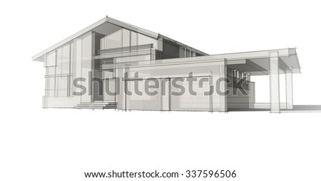 Modern Architecture Sketch blueprint design modern office building architects stock