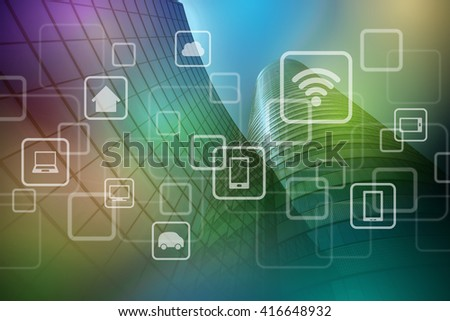 modern architecture exterior and wireless communication network, Internet of things (IoT), abstract image visual - stock photo