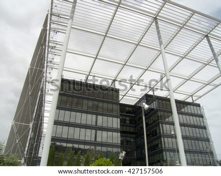 Modern architecture in a glass building