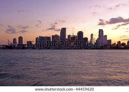 Modern Architecture in Famous travel destination in Miami Beach Florida. Skyscrapers in Downtown at sunset.