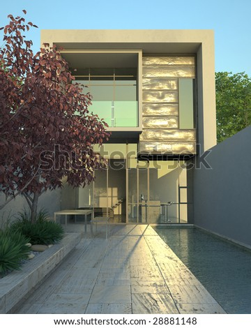 Modern architecture in mid-afternoon (3D render) - stock photo