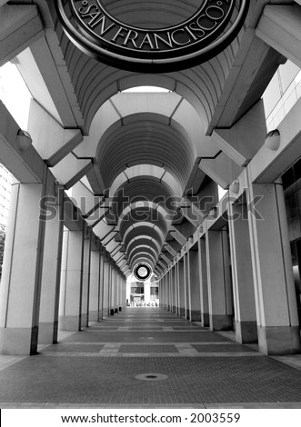 Modern Architecture in San Francisco, black and white. - stock photo