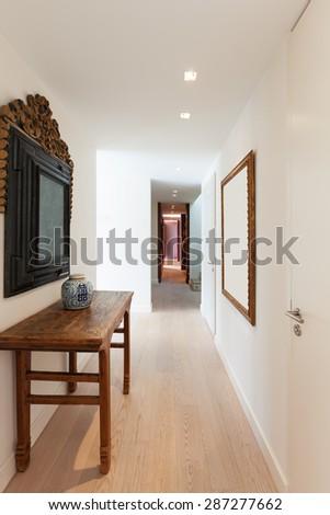 modern architecture, Interior, beautiful apartment, corridor - stock photo