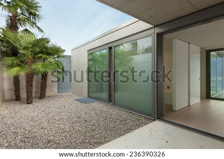 Modern architecture, luxury apartment, view from the veranda - stock photo