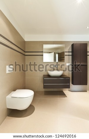 modern architecture, new empty apartment, bathroom - stock photo