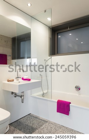 Modern architecture; nice apartment; bathroom - stock photo