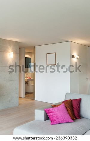 Modern architecture, nice apartment, living room view - stock photo
