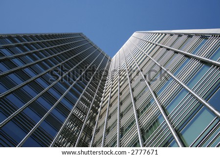 modern architecture of skyscraper viewed from below