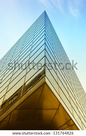 modern architecture of steel and glass buildings in colors - stock photo