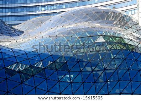 Modern architecture,Poland. Details of skyscraper in Warsaw. - stock photo
