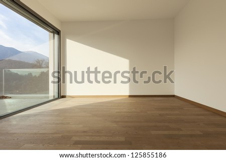 modern architecture, room with large window - stock photo