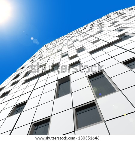 Modern architecture. Skyscraper design and 3d model my own - stock photo