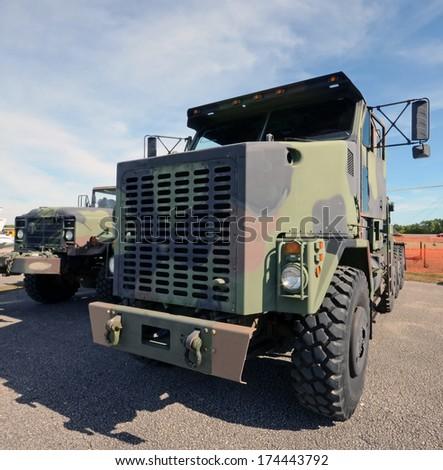 Modern army trucks for heavy cargo - stock photo