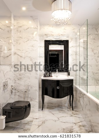Attractive Modern Art Deco Bathroom Interior Design With Gray And White Marble Tiles,  Black Furniture And