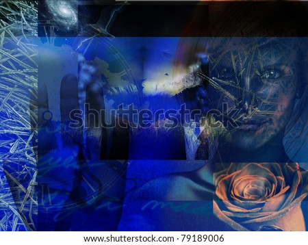 Modern Art Grunge Blue Abstract with Woman
