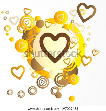modern art heart icon in front of a happ party art background with flying heart icons isolated on white background