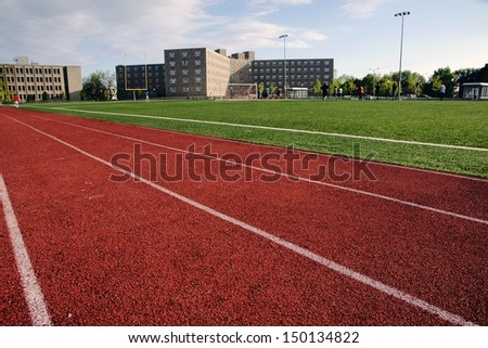 Modern Athletic Field at a Large Private University, day - stock photo