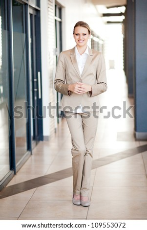 modern attractive young businesswoman full length portrait - stock photo