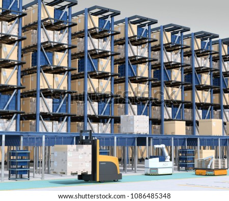 Modern Automated Logistics Center's interior. AGV and autonomous forklift carrying goods. Concept for automated logistics solution. 3D rendering image.