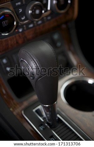 Modern Automatic Transmission Shifter Closeup. Car Interior.