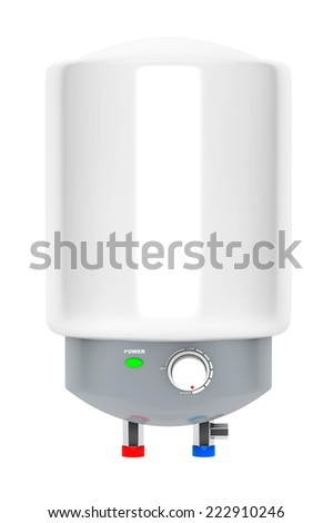 Modern Automatic Water Heater on a white background - stock photo