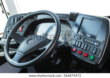 Modern automobile control panel. Dashboard with navigation of an autobus.