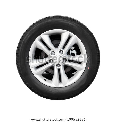 Modern automotive wheel isolated on white - stock photo