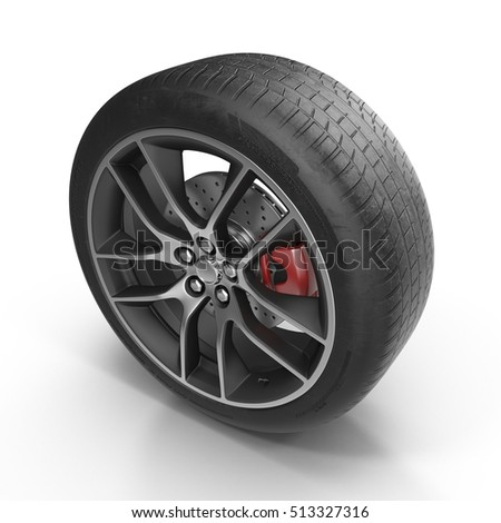 Modern automotive wheel isolated on white. 3D illustration