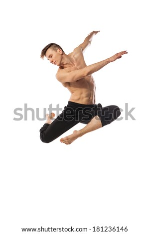 modern ballet dancer posing isolated over white background - stock photo