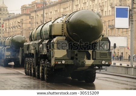 Modern ballistic nuclear missile on rehearsal of military parade in Moscow, Russia