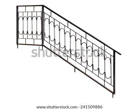 Modern  banisters, railing. Isolated over white background. - stock photo