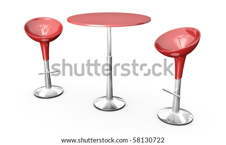 Modern bar table with two chairs on white background. 3D rendered image. - stock photo