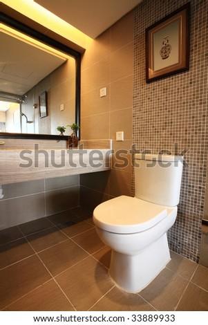 modern bath room interior - stock photo