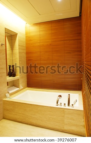 Modern bath room with wood panel. - stock photo