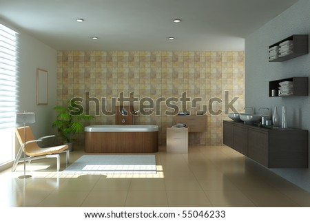modern bathroom.3d render - stock photo