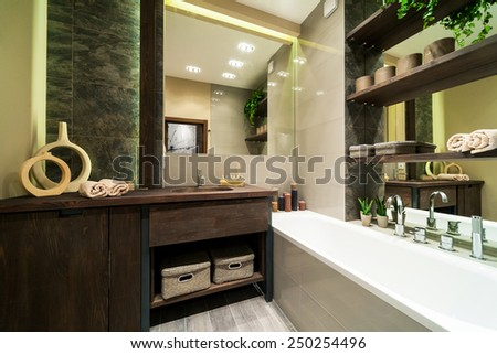 Modern bathroom decorated in eco style  with wooden furniture and green plants  - stock photo
