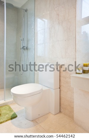 Modern bathroom in a new house - stock photo