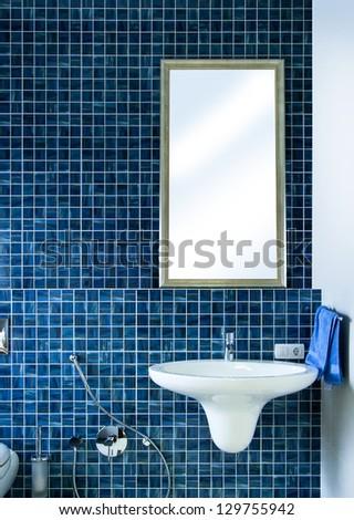 Modern bathroom in blue - stock photo