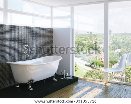 modern bathroom in bright interior with big window - stock photo