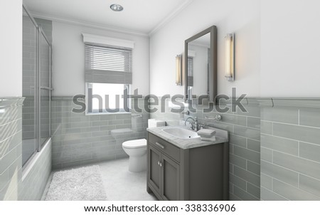 Modern Bathroom in Country House 3d Rendering - stock photo