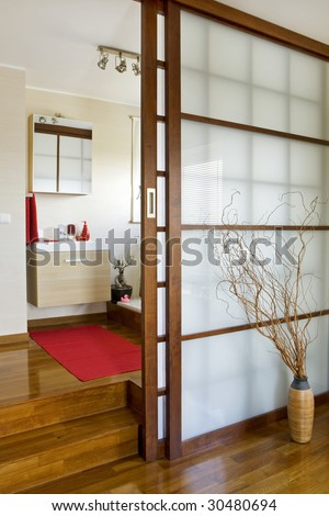 modern bathroom in japan style - stock photo