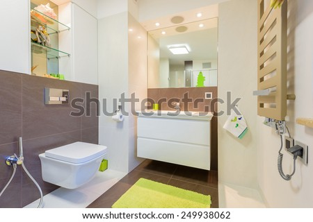 Modern bathroom in luxury apartment in Krakow city, Poland