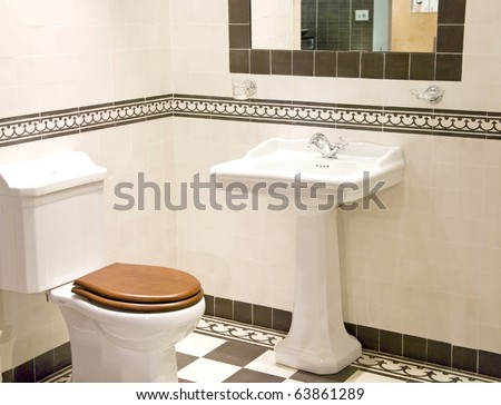 modern bathroom in vintage style - stock photo