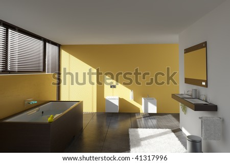 modern bathroom interior (3D rendering) - stock photo